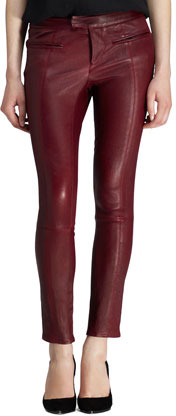 Helmut Lang Cropped Leather Stovepipe Pants