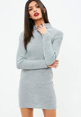 Missguided Gray High Neck Sweater Mini Dress
