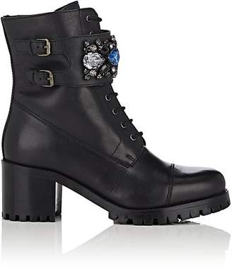 Barneys New York WOMEN'S EMBELLISHED LEATHER COMBAT BOOTS