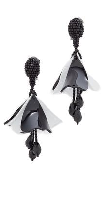 Oscar de la Renta Small Impatiens Clip On Earrings $350 thestylecure.com
