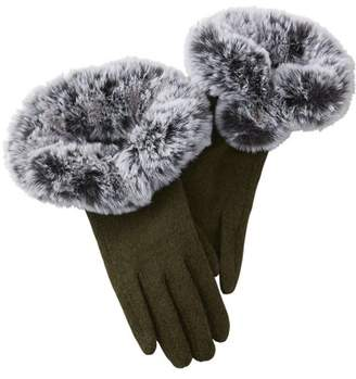 Tickled Pink Sutton Faux Fur Gloves, Set of 2 Gloves, One Size Fits Most, 70% Wool; 30% Polyester, Multiple Colors
