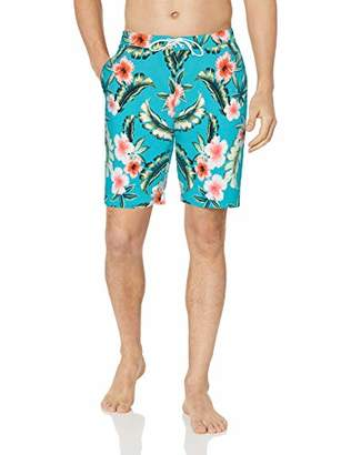 "28 Palms Men's 9"" Inseam Tropical Hawaiian Print Cotton Nylon Swim Board Short"