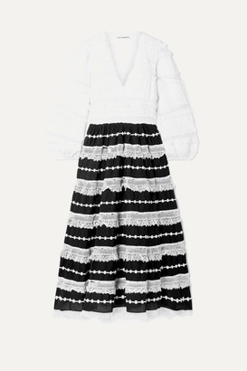 Ulla Johnson Charline Appliquéd Lace-trimmed Cotton-blend Midi Dress - White
