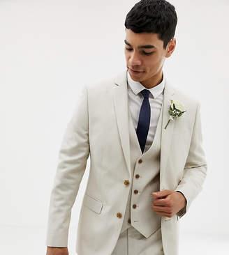 Farah Smart skinny wedding suit jacket in linen exclusive