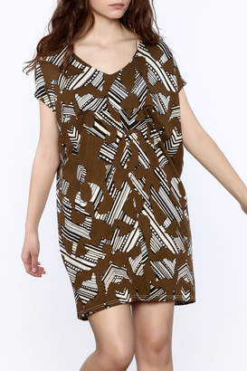 NU New York Brown Print Shift Dress