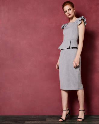 Ted Baker DAIZID Pleated shoulder peplum dress