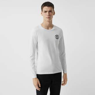 Burberry Long Sleeve Embroidered Logo Cotton T-shirt