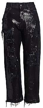 R 13 Women's Distressed Cropped Sequin Jeans