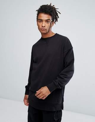 New Look Dropped Shoulder Sweatshirt With Crew Neck In Black