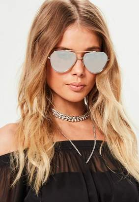 Missguided Silver Aviator Sunglasses