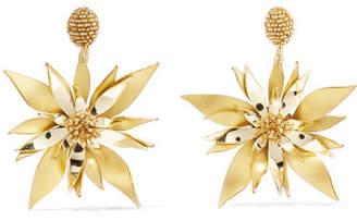 Oscar de la Renta Starfish Flower Beaded Pvc Clip Earrings - Gold