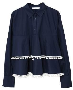 MANGO Tassel trim shirt