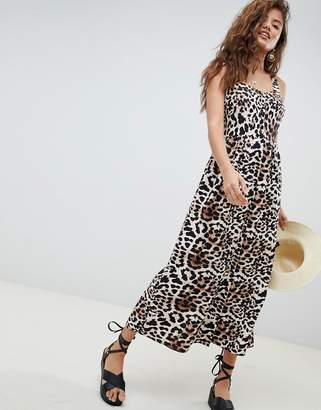 Asos Design DESIGN leopard print linen button through maxi dress