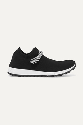 Jimmy Choo Verona Crystal-embellished Stretch-knit Sneakers - Black
