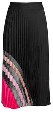 Milly Sheer-Panel Stretch Silk Pleated Skirt