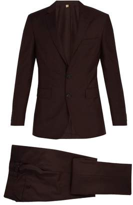 Burberry Soho Single Breasted Wool Blend Suit - Mens - Burgundy