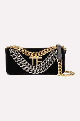 Tom Ford Triple Chain Small Embellished Leather-trimmed Velvet Shoulder Bag - Black