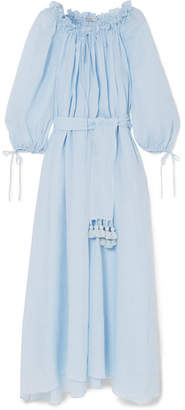 Three Graces London - Almost A Honeymoon Tasseled Belted Ramie Maxi Dress - Light blue