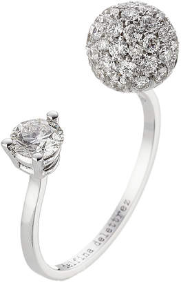 Delfina Delettrez 18kt White Gold Sphere Ring with White Diamonds