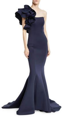 Jovani Marshmallow Ruffle-Shoulder Trumpet Gown