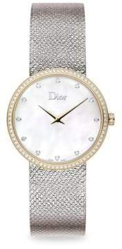 Dior La D de Dior Diamond, Mother-Of-Pearl& Stainless Steel Watch