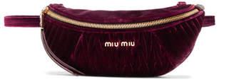 Miu Miu Convertible Matelassé Velvet Belt Bag - Burgundy