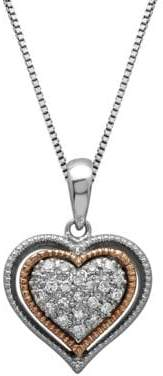 Lord & Taylor Sterling Silver and 14Kt. Rose Gold Diamond Heart Pendant Necklace