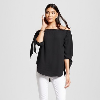 Mossimo Women's Off The Shoulder Woven Top Black - Mossimo $22.99 thestylecure.com