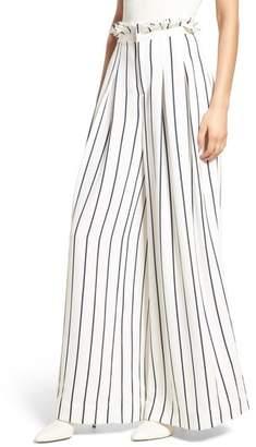 KENDALL + KYLIE Pinstripe Wide Leg Paperbag Pants