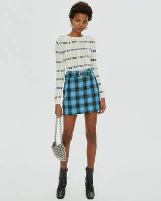 Topshop Circle Buckle Check Mini Skirt