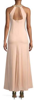 Marina Embellished Halter-Neck A-line Gown