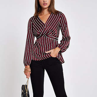 River Island Dark red stripe cross front tie back blouse