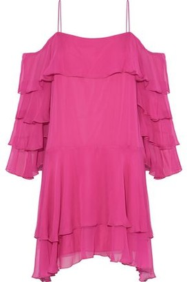 Alice + Olivia Lexis Cold-Shoulder Ruffled Silk-Blend Chiffon Mini Dress