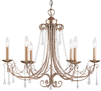 Cambridge Silversmiths Elk Lighting 6-Light Chandelier in Antique Silver