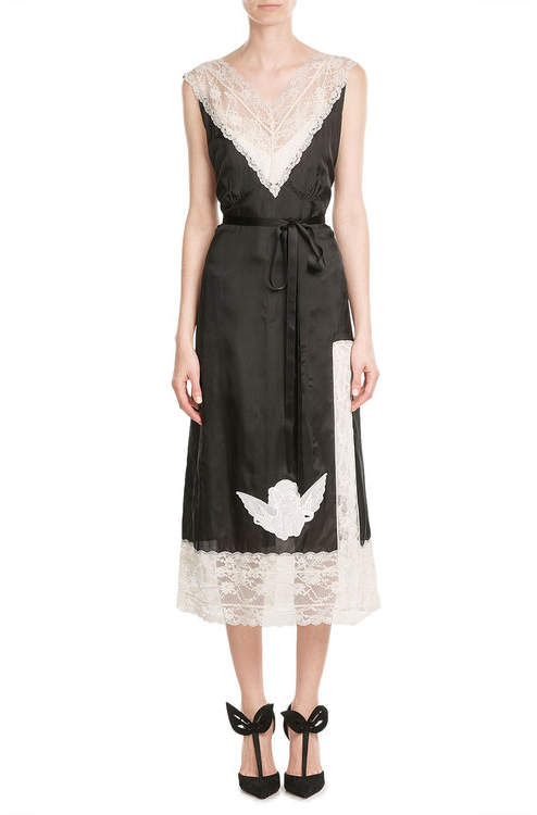 Marc Jacobs Marc Jacobs Satin Dress with Lace and Embroidery