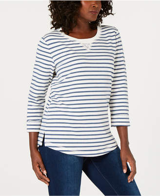 Karen Scott Striped French Terry Sweatshirt, Created for Macy's