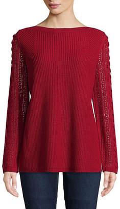 ST. JOHN'S BAY Long Sleeve Boat Neck Pullover Sweater