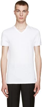 Versace Underwear White V-Neck T-Shirt $60 thestylecure.com