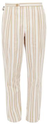 King & Tuckfield - Striped Cotton Denim Trousers - Mens - Yellow White