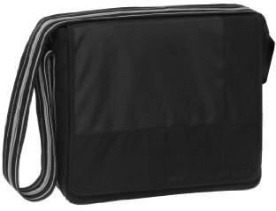 Lassig Casual Messenger Diaper Bag includes matching Bottle Holder, Changing Mat and Stroller Hooks, Patchwork Black