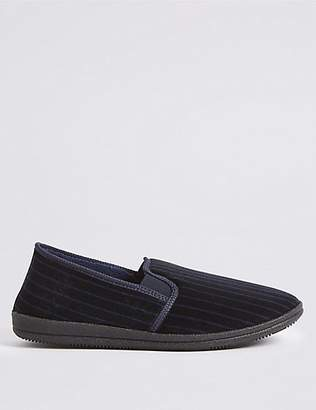 M&S Collection Velour Striped Slippers with ThinsulateTM