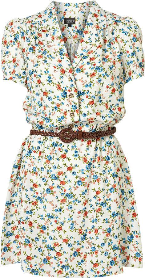 Cream Floral Print Shirt Dress