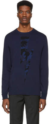 Neil Barrett Navy Camo Lightning Bolt Sweater