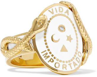Foundrae - Wholeness 18-karat Gold, Diamond And Enamel Ring