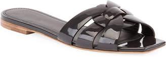 Saint Laurent Tribute Patent Leather Flat Slide Sandal