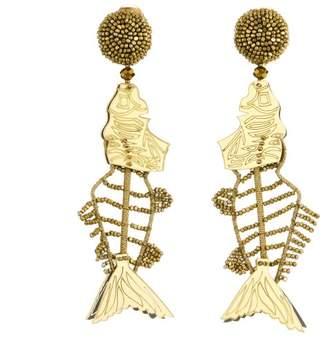 Oscar de la Renta Black Scribble Beaded Fish Earrings