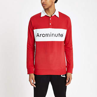 River Island Arcminute red long sleeve rugby shirt