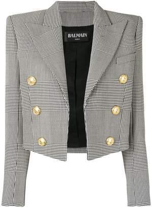 Balmain cropped checked jacket