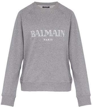 Balmain Logo Print Cotton Jersey Sweatshirt - Mens - Grey