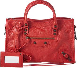Balenciaga Classic Silver City Small Leather Shoulder Bag